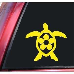 Flower Honu Hawaiian Sea Turtle Yellow Vinyl Decal Sticker
