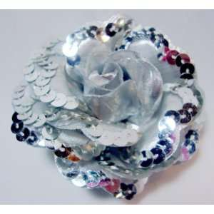 Silver Sequin Rose Hair Flower Clip Pin and Band