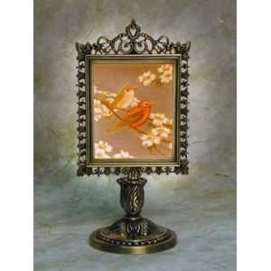 Song Lithophane Victorian Stand Antique Brass