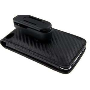 Top Flip Leather Case with clip   Black Cell Phones & Accessories