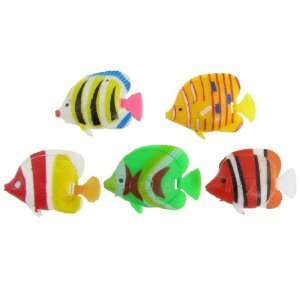 Como 5 Pcs Aquarium Swing Tail Multi Color Plastic Tropical Fish