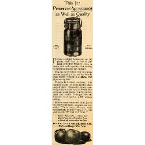1910 Ad E Z Seal Jar Hazel Atlas Glass Company Fruits   Original Print