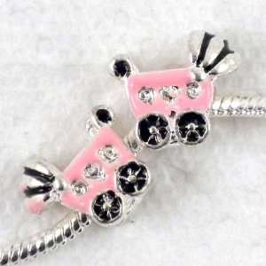 Pink Baby Cart Large Hole Charm Beads Fit Bracelet ~Jewelry Finding