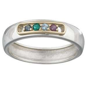 Sterling Silver Two Tone Mothers Birthstone Band Jewelry