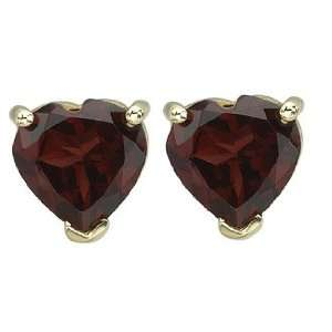 Shaped Dark Red Garnet Prong Set Birthstone Stud Earrings Jewelry