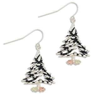 Black Hills Gold Christmas Tree Earrings made of Sterling