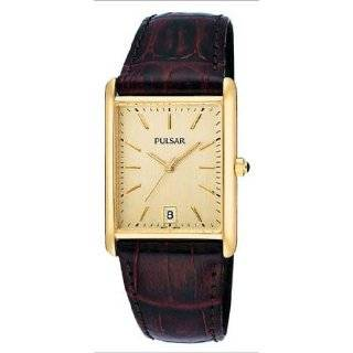 PXDA82 Gold Tone Stainless Steel Black Leather Strap Watch Watches