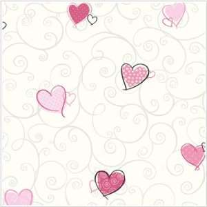 Forever Colorful Hearts Wallpaper White/Pink/Black: Home & Kitchen