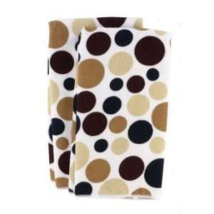 Piece Microfiber Polka Dot Print Towel Set, Black