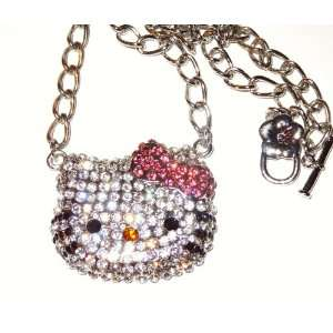 Hello Kitty Austrian Crystal Large Necklace Hot Pink Bow Jewelry