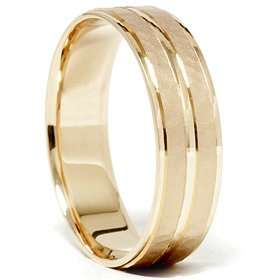 14K Yellow Gold Hammered Comfort Fit Wedding Band Ring Jewelry