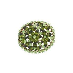 Green Oval Swarovski Crystal Brooch
