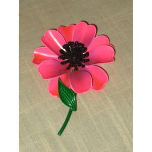 Vintage Pink Enamel Flower Power 3 x 2 1/2 Inch Brooch Pin (not signed