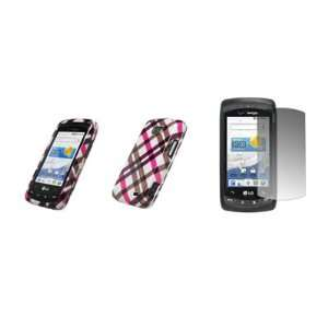 Premium Hot Pink Plaid Design Snap On Cover Hard Case Cell Phone