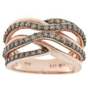 10k Pink Gold Champagne Diamond Crossover Ring (7/8 cttw