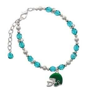 Small Green Football Helmet Teal Czech Glass Beaded Charm Bracelet