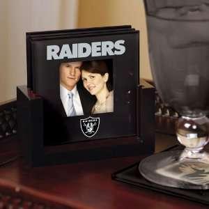 The Memory Company Oakland Raiders Art Glass Coaster Set