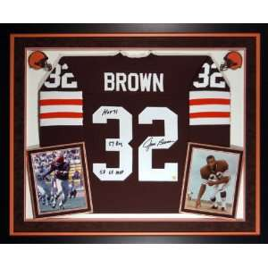 Jim Brown Cleveland Browns Deluxe Framed Autographed Jersey with 3