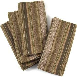 Mushroom Brown Striped Cotton Napkins, Set Of 12  Kitchen