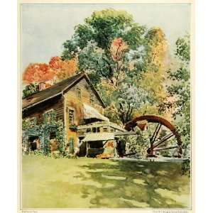 1923 Print Historic Old Mill Stockbridge Mass. Water Wheel Howe Bailey
