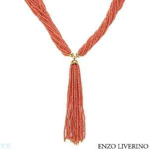 ENZO LIVERINO 18K Yellow Gold Coral Ladies Necklace. Length 29 in