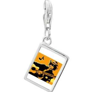 Silver Gold Plated Music Country Singer Photo Rectangle Frame Charm