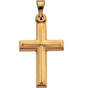 Jewelry Gift 14K Yellow Gold Cross Pendant. 17.00X12.00 Mm Cross