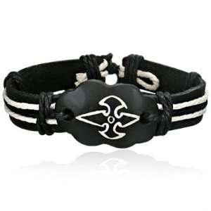 Fashion Rope Leather & Bone Cross Watch Style Bracelet Jewelry