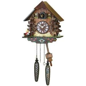 Quartz Cuckoo Clock Black forest house, deer, incl