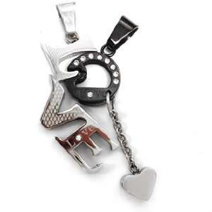 Stainless Steel Two Tone Love Pendants with Dangling heart Jewelry