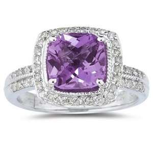 2.50ct Cushion Cut Amethyst & Diamond Ring in 14K White