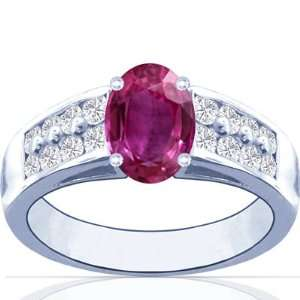 Platinum Oval Cut Pink Sapphire Ring With Sidestones Jewelry