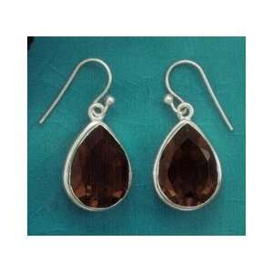 Silver French Wire Earrings w/18x12mm Faceted Smoky Quartz,1 in