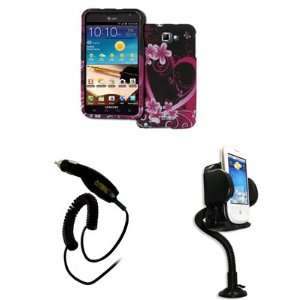 Cover (Purple Hearts with Flowers) + Car Dashboard Mount + Car Charger