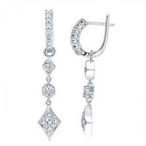 54Ct Teardrop Diamond Pave Dangling Hoop Earrings 14K Gold Jewelry