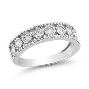 10k White Gold Diamond Ring (1/2 cttw I J Color, I2 I3 Clarity), Size