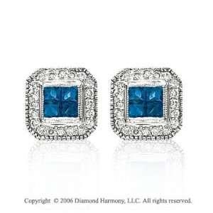 14k White Gold Princess Blue Sapphire Stud Diamond Earrings Jewelry