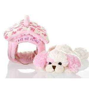 Plush Pink Dog with Pet Carrier 8 Toys & Games