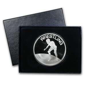Wrestling Silver Round (w/Gift Box & Capsule) Arts, Crafts & Sewing