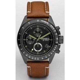 Fossil Arkitekt Dual Time Black Leather Strap OverSized Mens Watch