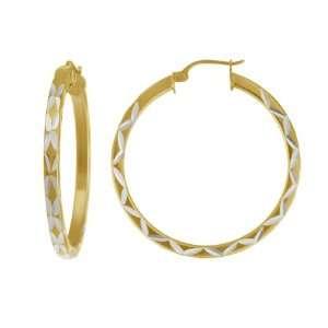 Gold Plated Sterling Silver Square Tube Hoop Earrings (1.97 Diameter
