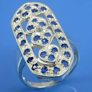 7.70 grams 925 Sterling Silver Gemstones Hearts Ring size