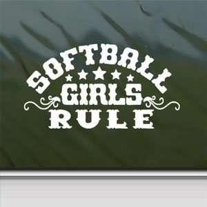 Softball Girls Rule White Sticker Car Vinyl Window Laptop