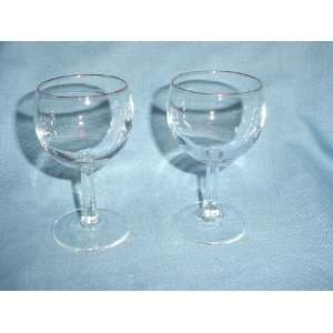 2 Glass Stem Wine Goblets with Gold Rims