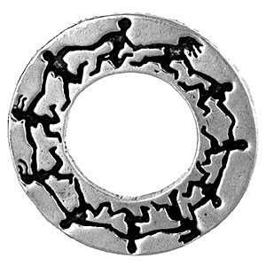 Goddess Circle Dance Pewter Pendant on Corded Necklace