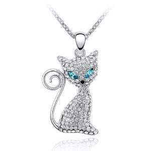 Kitty Cat Charm Pendant Necklace Elegant Crystal Fashion Jewelry