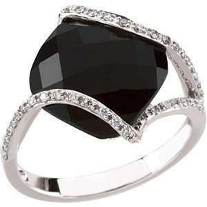 Square Checkerboard Onyx & Diamond White Gold Ring (5) Jewelry