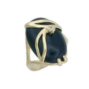 Solitaire Black Genuine Nature Stone Onyx Gold Tone Ring, Size 5 10