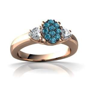 14k Rose Gold Blue Diamond Ring Size 4 Jewelry