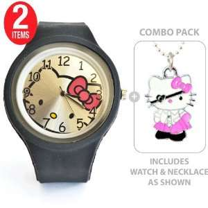 Hello Kitty Sports Silicone Quartz Wrist Watch in Black with Hello
